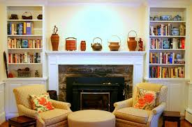 image of living room decoration using brown stone fireplace