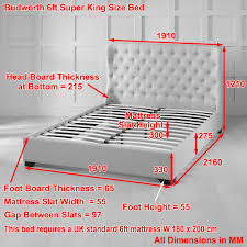 King Size Bed Dimensions Height Budworth Upholstered Grey Fabric Wingback 6ft Super King Bed