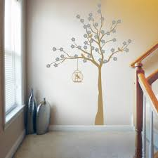 cherry blossom tree with birdcage wall stickers decals metallic gold and silver cherry blossom tree with birdcage wall decal