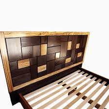 Custom Bed Headboards Hand Made Patterned Bed Headboard W Zebrawood Frame By Cc Fine