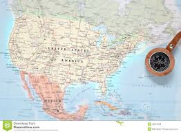 Free United States Map by Travel Destination United States Map With Compass Stock Photo