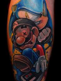 cool designed colored video games heroes tattoo on leg tattoos pm