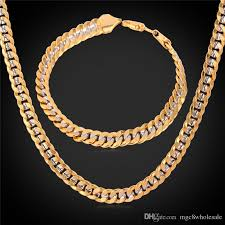 tone gold necklace images 2018 u7 two tone gold plated necklace bracelet set 18k gold plated jpg