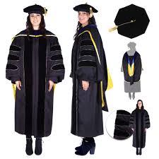 graduation gown rental premium black phd gown cap regalia rental set