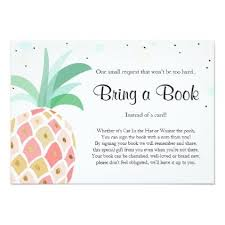pineapple baby shower bring a book tropical pink card pink cards