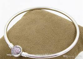 clasp bangle bracelet images High quality 925 sterling silver pink pave heart bangle bracelet jpg