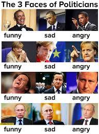 Obama Putin Meme - three faces of politicians funny sad angry obama merkel cameron