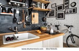 Design Of Modern Kitchen Design Modern Home Kitchen Loftstyle Rustic Stock Photo 399947377