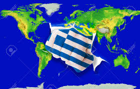 Greece Flag Colors Fist In Color National Flag Of Greece Punching World Map As Symbol
