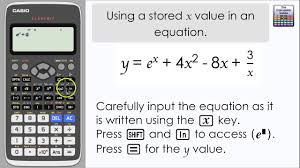 input output tables calculator casio classwiz using a stored value of x in an equation