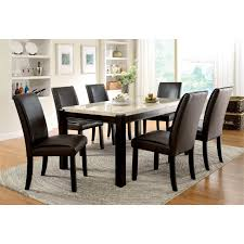 Marble Top Dining Room Table Sets Furniture Of America Hudson Faux Marble Top Dining Table In Wood
