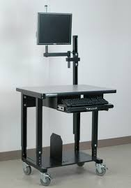 Mobile Computer Desk Stackbin Workbenches Mobile Computer Station U0026 Monitor Arm