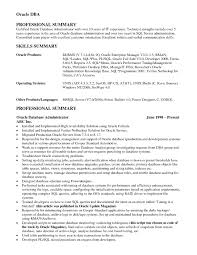 oracle dba resume oracle dba resume exle exles of resumes
