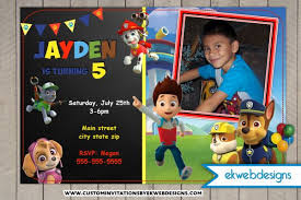paw patrol custom birthday invitations printable file photo