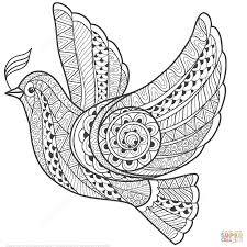 zentangle dove of peace coloring page free printable coloring pages