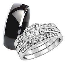 his and wedding rings his hers 4pcs black titanium matching band women princess cut