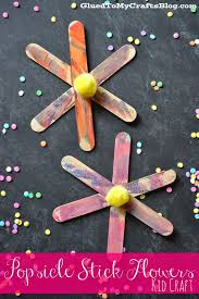 popsicle stick flowers kid craft glued to my crafts