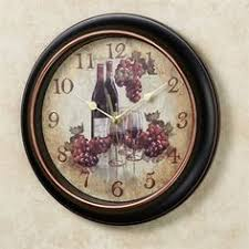 Kitchen Curtains With Grapes by Vina Bella Wall Clock Italian And Wine Decor For Restaurant