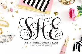 She She Intertwined Monogram She Font Script Fonts Creative Market