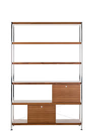Metal Shelving Unit Brown Hickory Wood Mixed Chrome Metal Based Shelving Unit With Tow