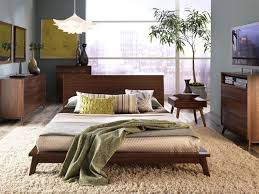 Modern Wooden Beds Mid Century Modern Brown Walnut Wood Bed Frame And Bedroom