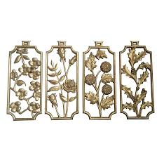 Gold Wall Decor by Vintage Sexton Gold Four Seasons Floral Wall Decor Chairish