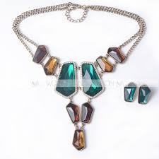 fashion necklace making images Diamond cutting colorful pattern rectangular shape glass colorful jpg