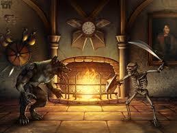 killer instinct sword skeleton werewolf fireplace dark battle fire