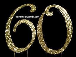 60 cake topper gold rhinestone covered 60th 60 anniversary birthday