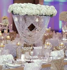 luxury elegant crystal tall flower stand for wedding table decor