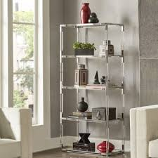 berlin clear lucite and grey veneer pine bookcase free shipping