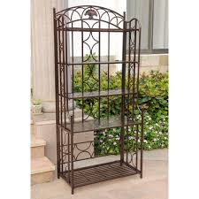 Wrought Iron Bakers Rack With Glass Shelves Bakers Racks Wood Wrought Iron Metal Bakers Rack
