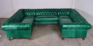 green gray green leather sectional sofa with u shape plus back and arm rest