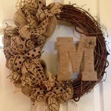monogram wreath summer wreath burlap wreath grapevine wreath monogram wreath aftcra