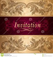 Elegant Invitation Cards Design Of Luxury Invitation Card In Vintage Style Stock