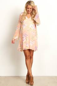 maternity dress pink floral printed v neck chiffon dress
