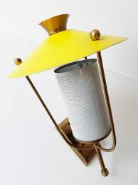Yellow Wall Sconce Vintage Yellow Perforated Rockabilly Wall Light 1950s For