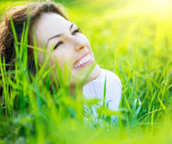beautiful spring young woman outdoors enjoying nature u2014 stock