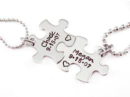 Engraved Necklaces For Couples Personalized Couple Puzzle Piece Set Engraved Jewelry