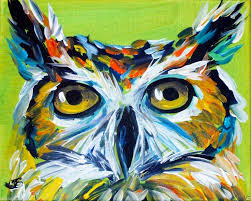abstract owl paintings