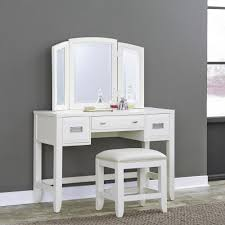 White Bedroom Vanity Table With Tilt Mirror Cushioned Bench Frenchi Home Furnishing 3 Piece White Vanity Set H 7 Wh The Home