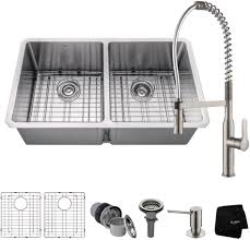 double bowl sink faucet combinations