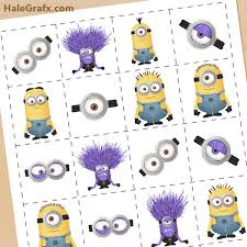 printable despicable 2 minions memory game