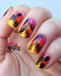 summer nail art u2013 tropical sunset palms u2013 cmy nails