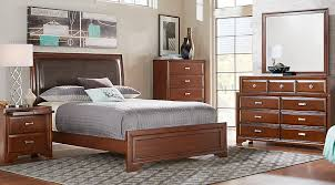 upholstered bedroom set belcourt cherry 5 pc king upholstered bedroom bedroom sets dark wood