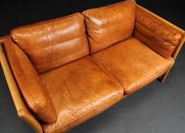 danish leather sofa in light tan seating apollo antiques