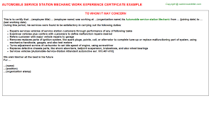 Interior Design Work Experience by Automobile Service Station Mechanic Work Experience Certificate