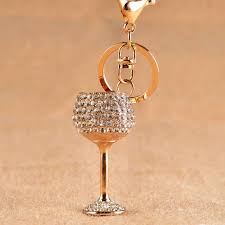wine glass keychain fashion wine glass key chain women cup keychain bag