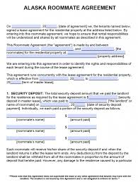 Rental House Lease Agreement Template Free Alaska Roommate Agreement Template Pdf Word