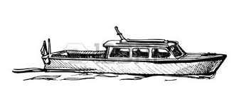 vector drawing of boat stylized as engraving royalty free cliparts